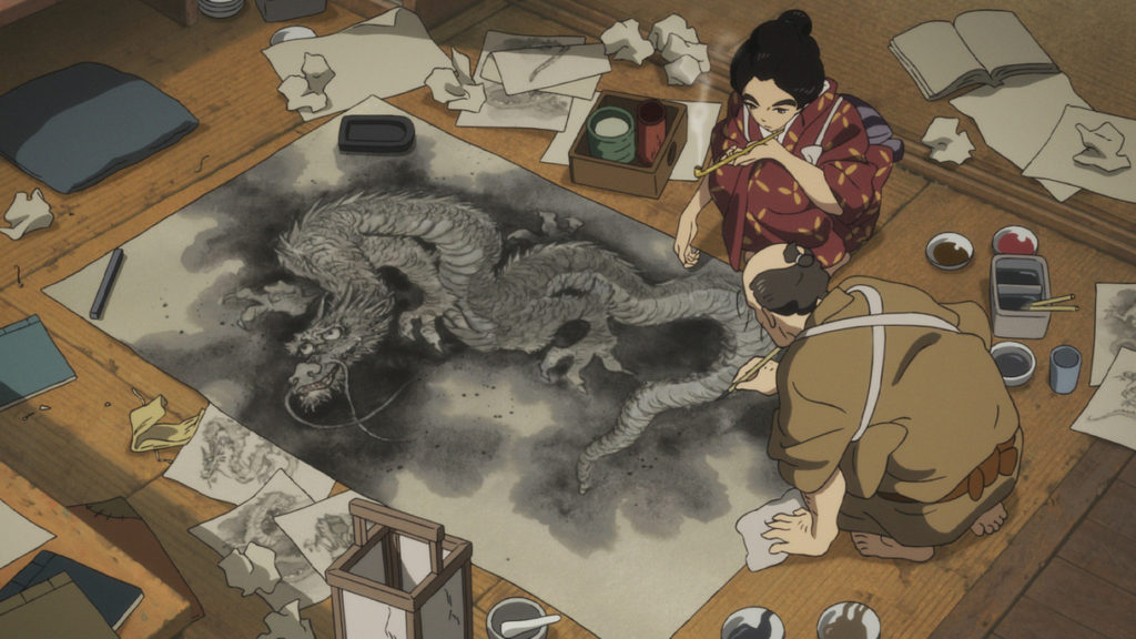 Miss Hokusai, O-Ei painting with her father, Hokusai