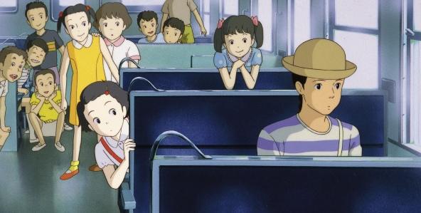 The two main characters: young Taeko and adult Taeko