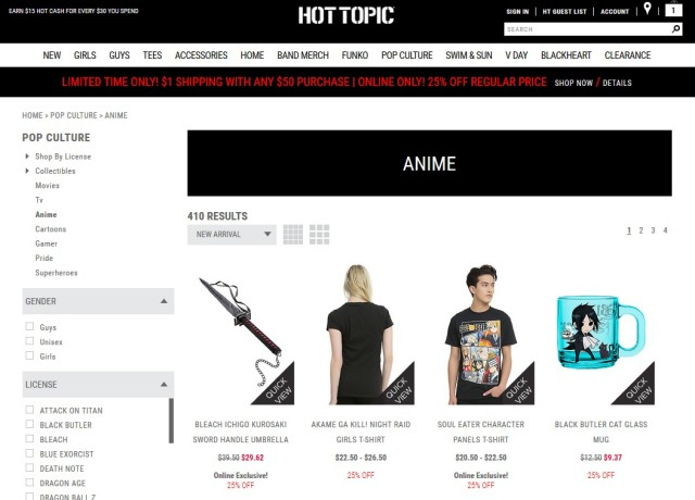 Hot Topic Site